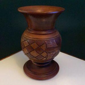 Other - Solid Wood Carved Vase